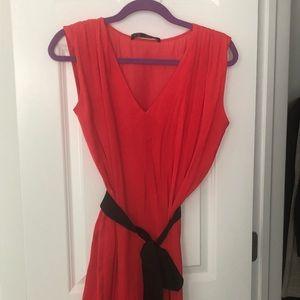 ❤️sale❤️ Zara basic red dress with black tie waist